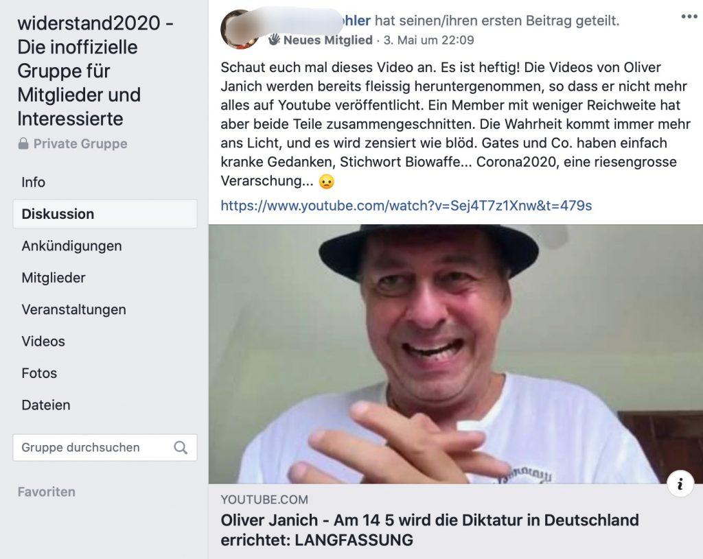 Verschwörungstheoretiker Oliver Janich; Screenshot Facebook