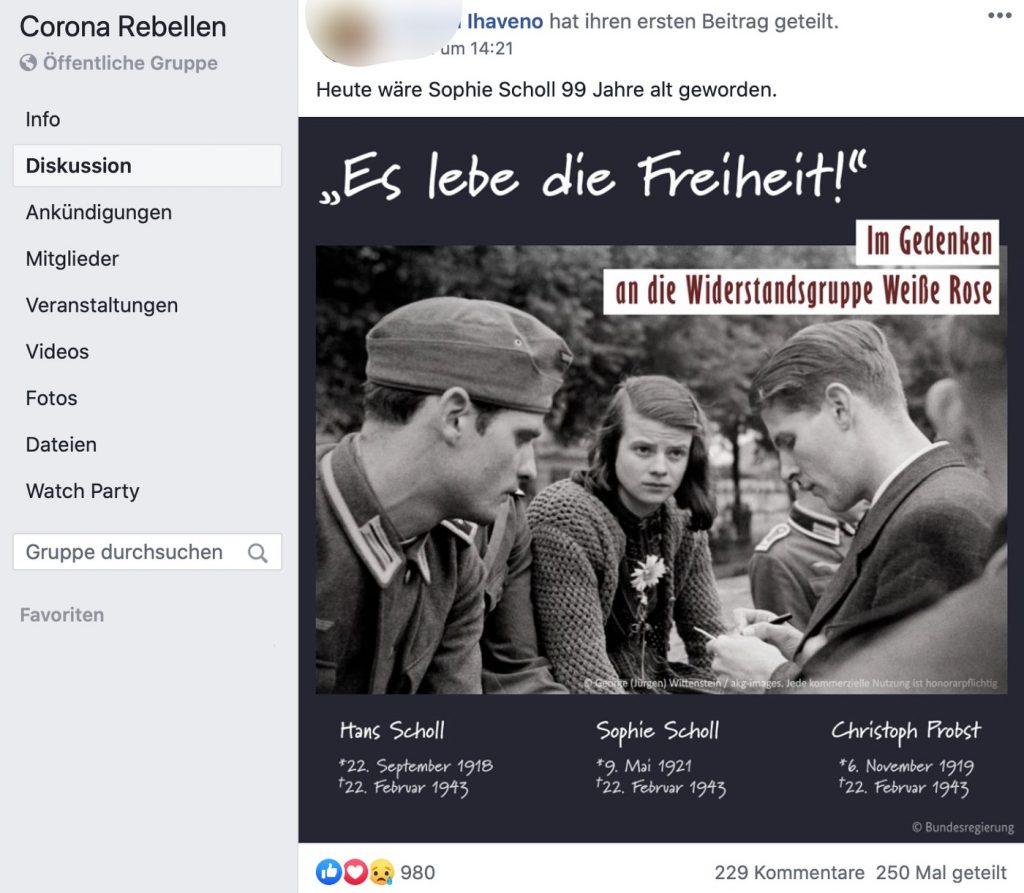 Verharmlosung der Nazizeit; Screenshot Facebook