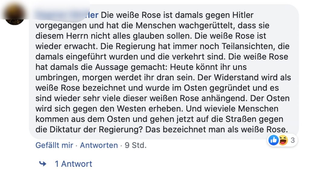 Die Mitglieder der weißen Rose rotieren in ihren Gräbern; Screenshot Facebook