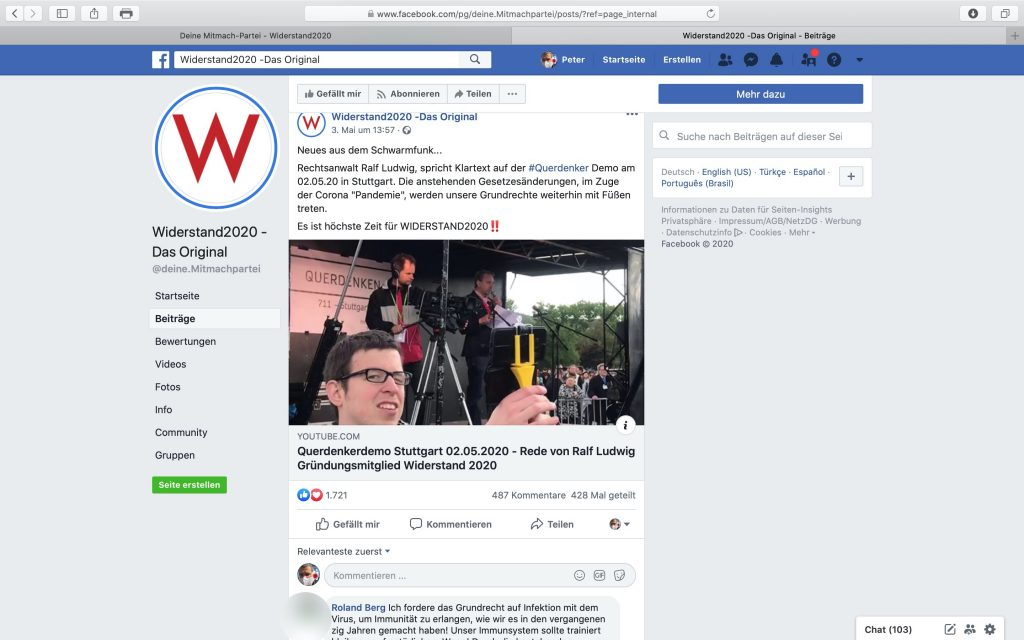 Facebook-Seite: Widerstand2020 - Das Original; Screenshot Facebook