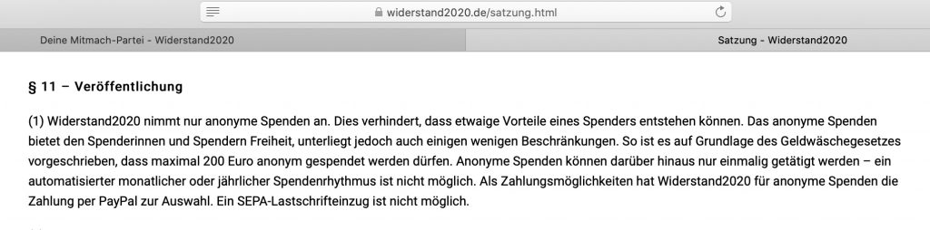 Anonyme Spenden willkommen!; Screenshot widerstand2020de