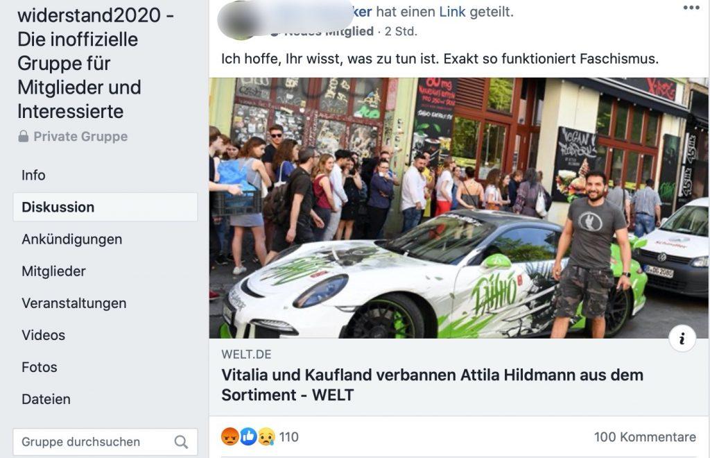 Sympathie für den veganen Widerstandskämpfer Atilla Hildmann; Screenshot Facebook
