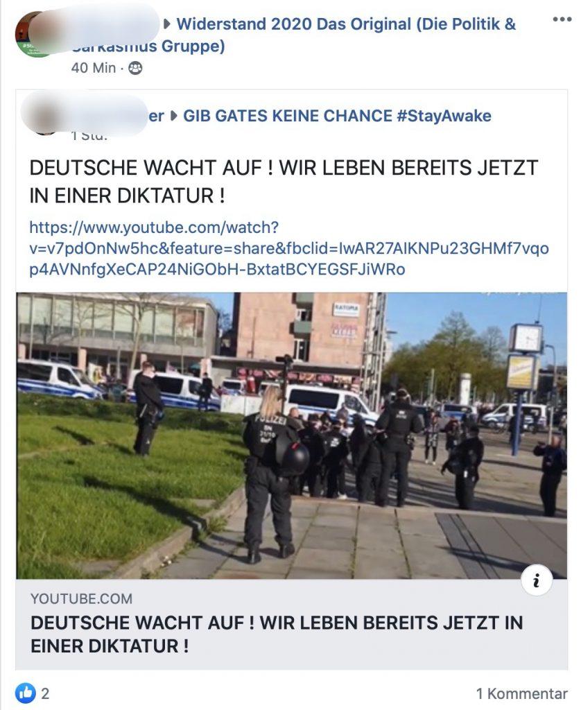 """Affinität zur rechtsextremen Gruppe """"Pro Chemnitz""""; Screenshot Facebook"""