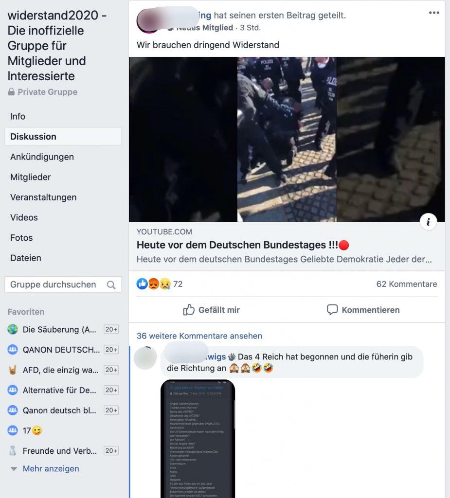Solidarität mit Atilla Hildmann: Auf dieser Demo wurde ein ARD-Team angegriffen; Screenshot Facebook