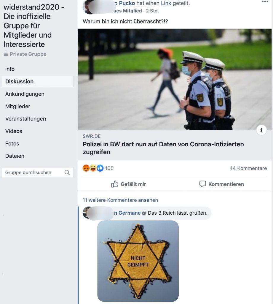 Maßnahmen gegen COVID-19 werden mit dem Holocaust verglichen; Screenshot Facebook