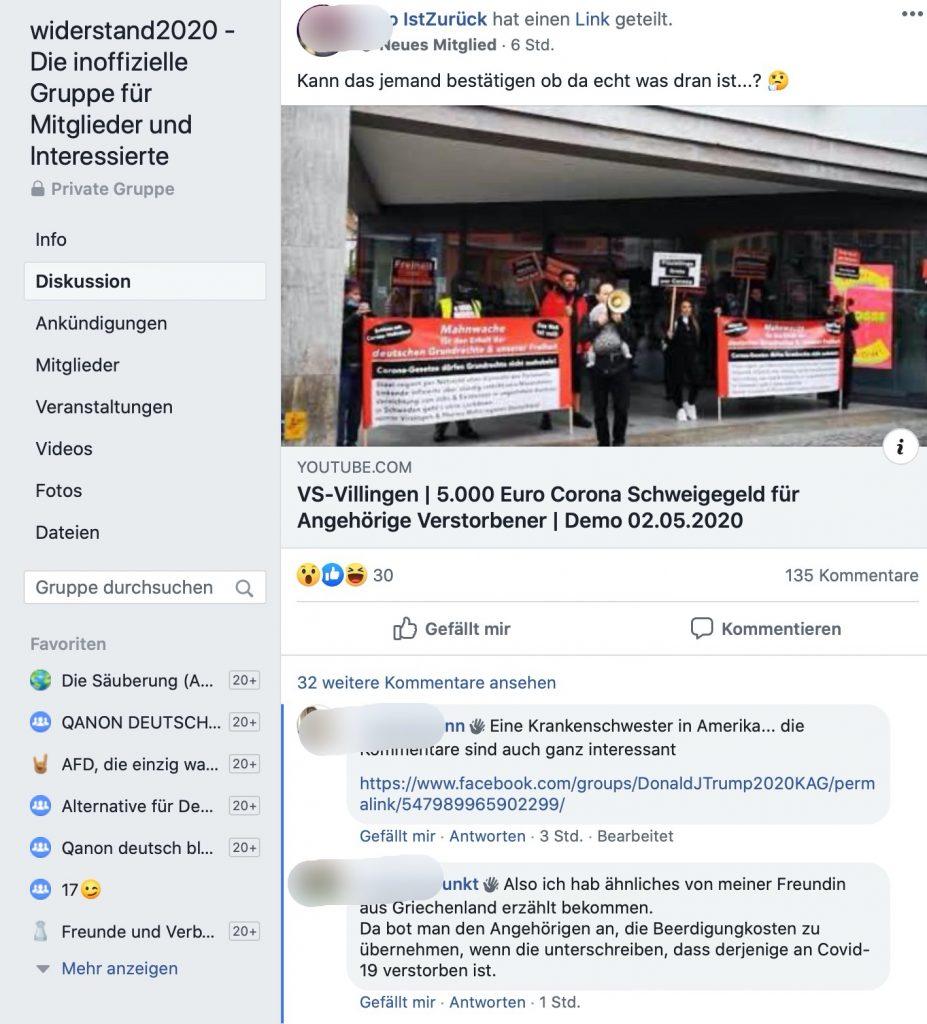 """""""5000 Euro Schweigegeld""""; Typische Fake-News bei den Anhängern von Widerstand2020; Screenshot Facebook"""