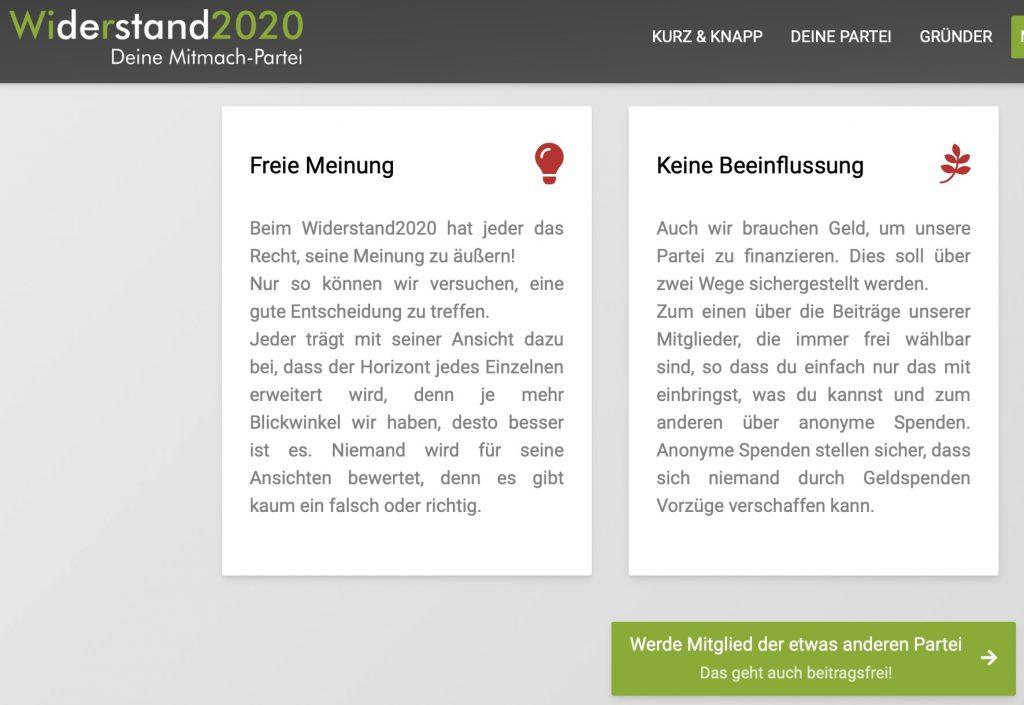 Anonyme Spenden bevorzugt; Screenshot widerstand2020.de