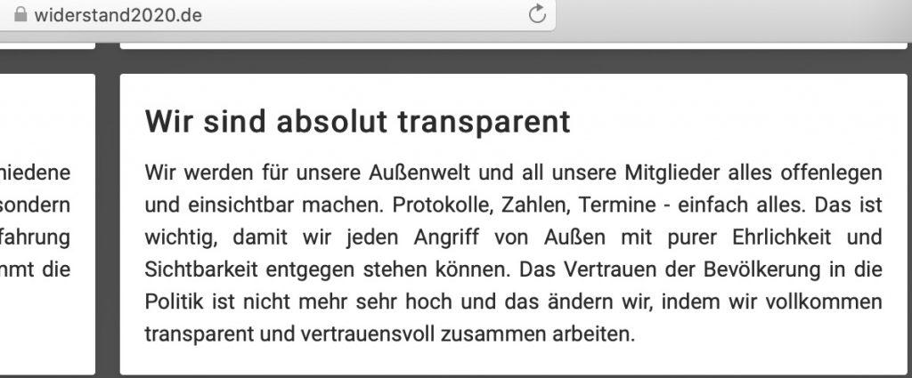 """""""Wir sind absolut transparent"""" - mit anonymen Spenden; Screenshot widerstand2020.de"""