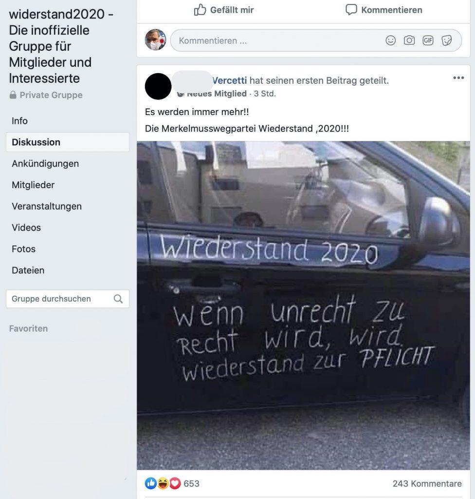 wiederstand2020 - Die Merkelmusswegpartei; Screenshot Facebook