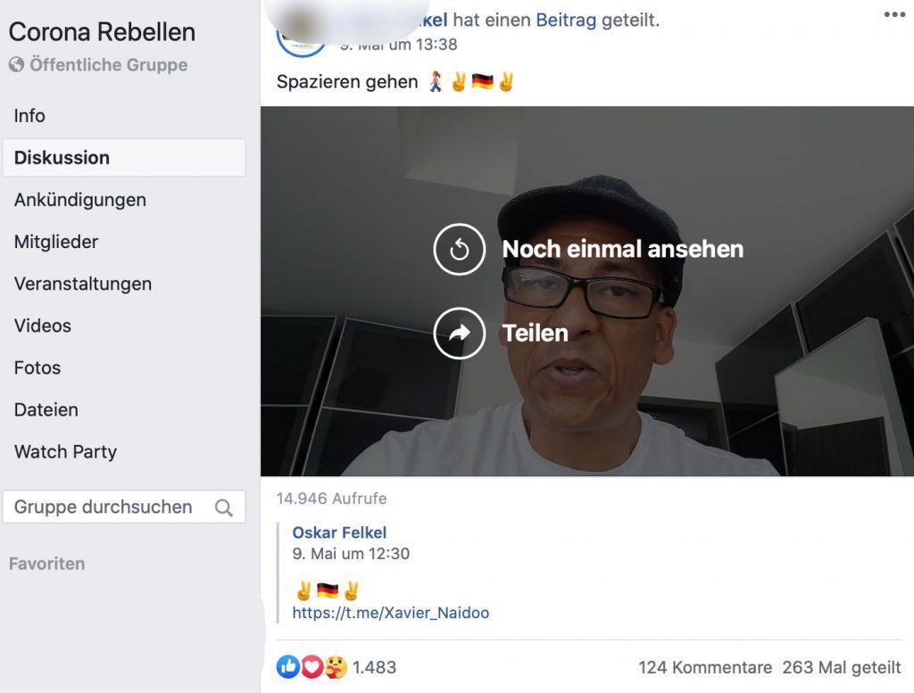 Einfach mal draußen Spazieren gehen: Corona-Rebellen mögen Xavier Naidoo; Screenshot Facebook