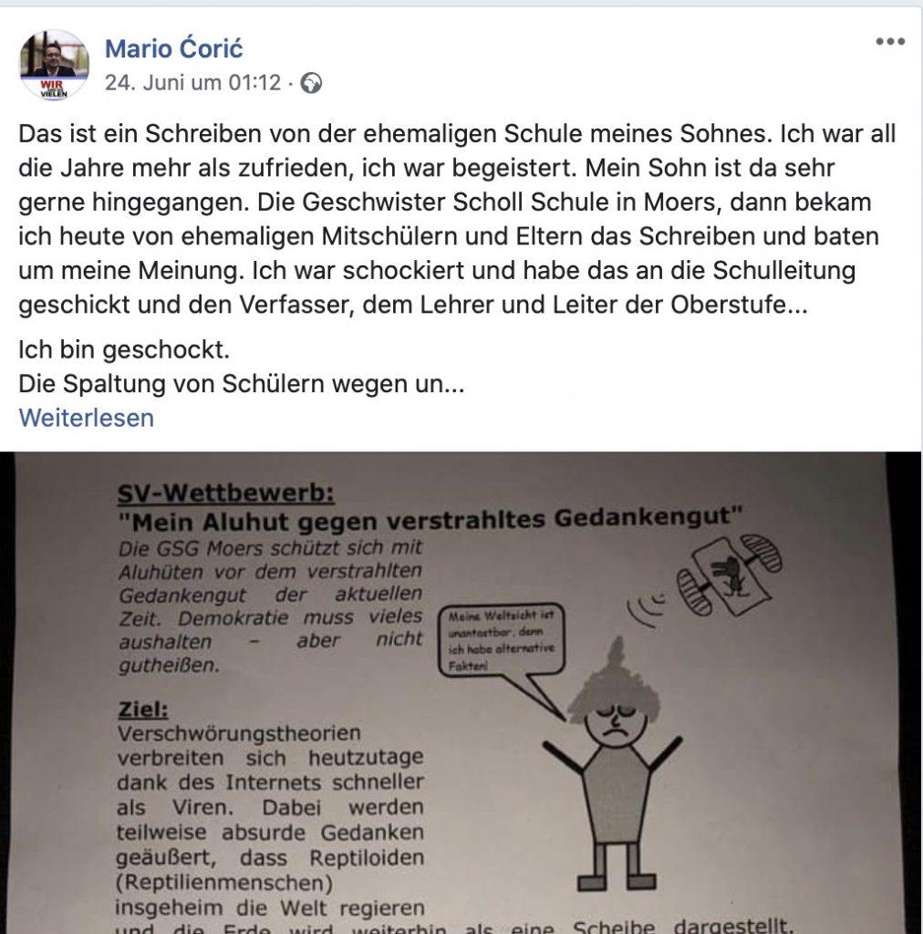 Das Posting, das zum Shitshorm führte; Screenshot Facebook