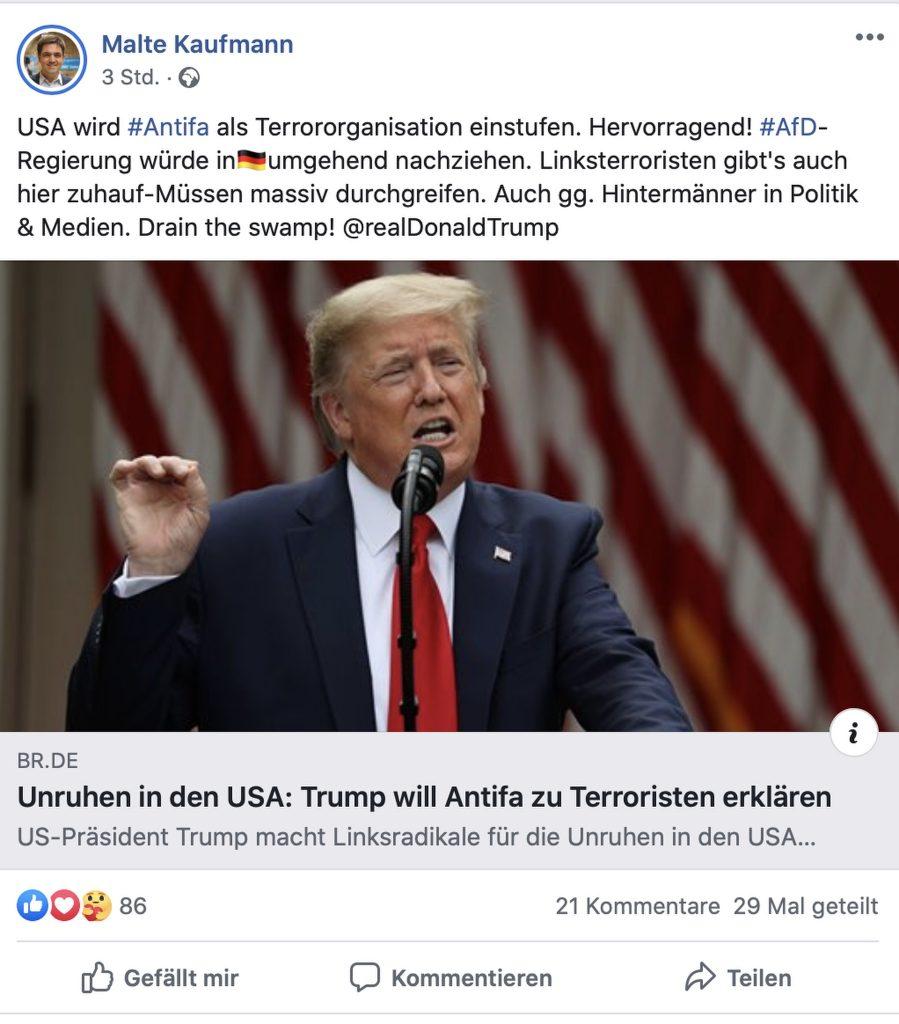 """Malte Kaufmann (AfD): """"Müssen massiv durchgreifen""""; Screenshot"""