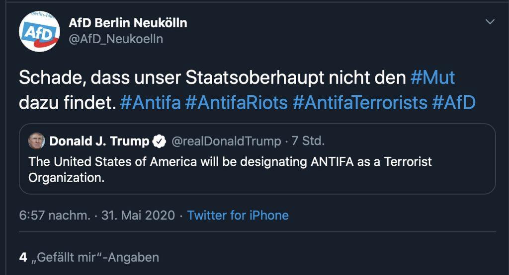 Dass Faschistenfreunde sich über eine Antifa-Verbot freuen macht Sinn; Screenshot