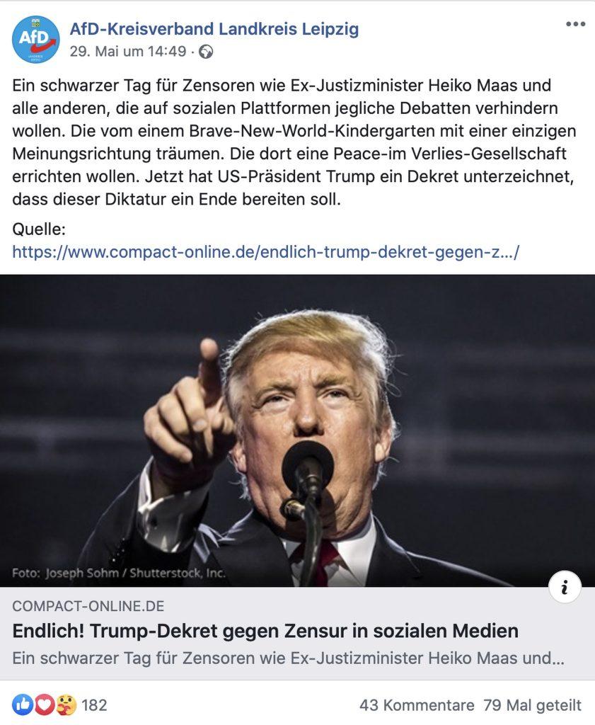 Verwundert nicht wirklich: Der AfD Kreisverband Leipzig mag keine Faktenchecker; Screenshot
