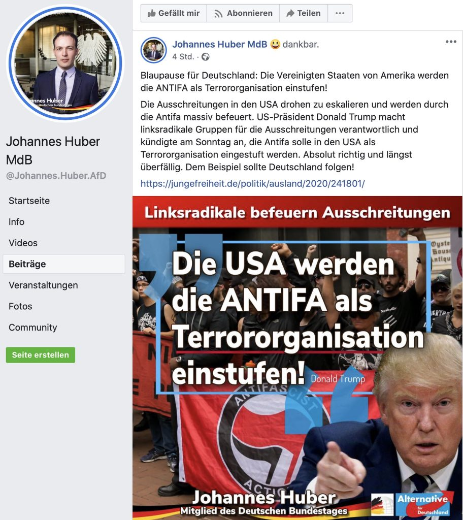 """""""Blaupause für Deutschland: Die Vereinigten Staaten von Amerika werden die ANTIFA als Terrororganisation einstufen!"""" Screenshot"""