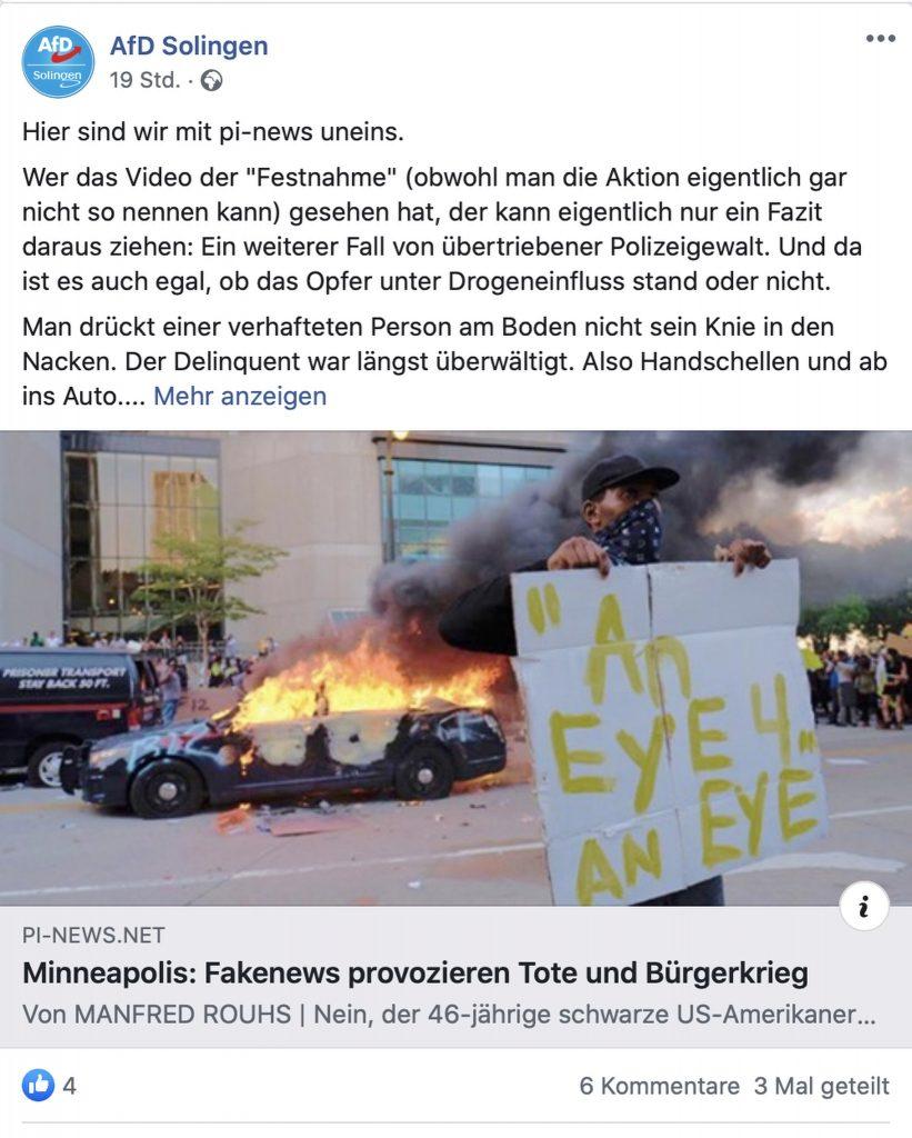 """AfD Solingen: Für die AfD eine überraschend """"gesunde"""" Position; Screenshot"""