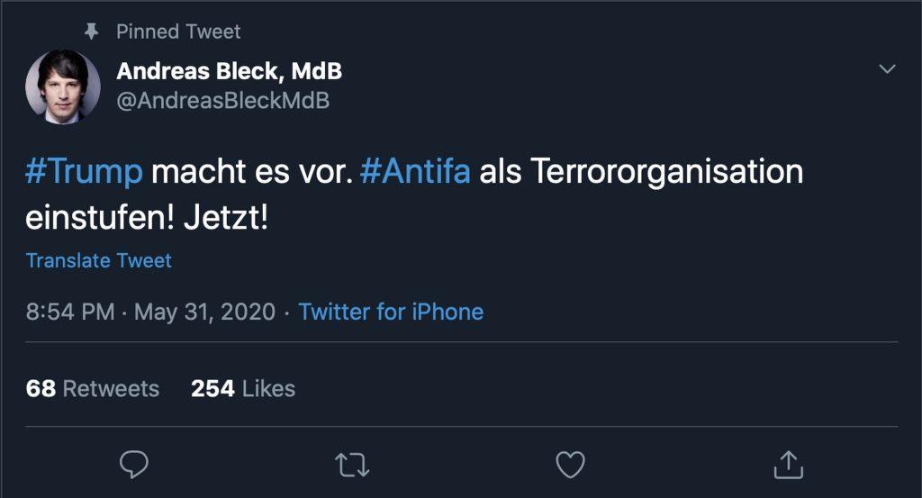 """""""#Antifa als Terrororganisation einstufen!"""" Screenshot"""
