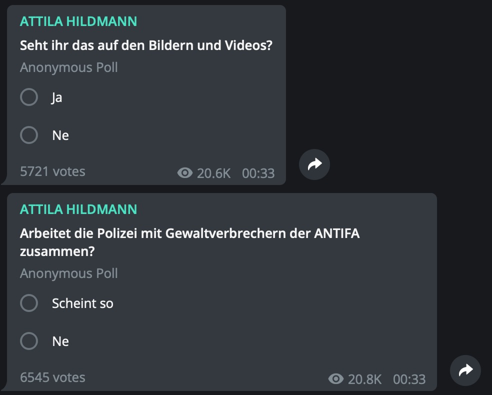 Kooperation ANTIFA und Polizei: Thema bei Hildmann; Screenshot Telegram