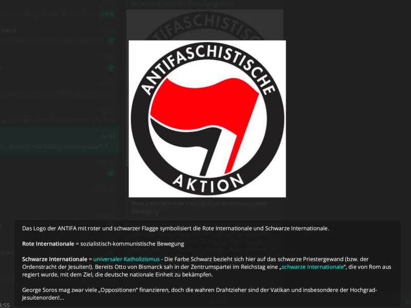 Antifaschistische Aktion: Gesteuert vom Vatikan; Screenshot Telegram