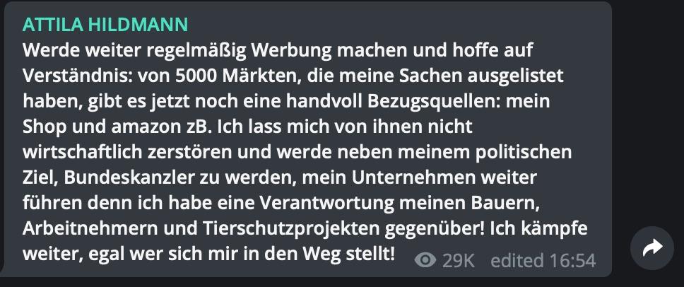 Attila hat ein Ziel: Das Bundeskanzleramt; Screenshot Telegram