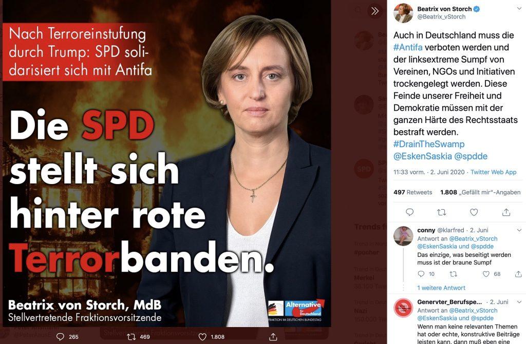 """#DrainTheSwamp: Beatrix von Storch und die """"roten Terrorbanden"""" auf Twitter; Screenshot"""