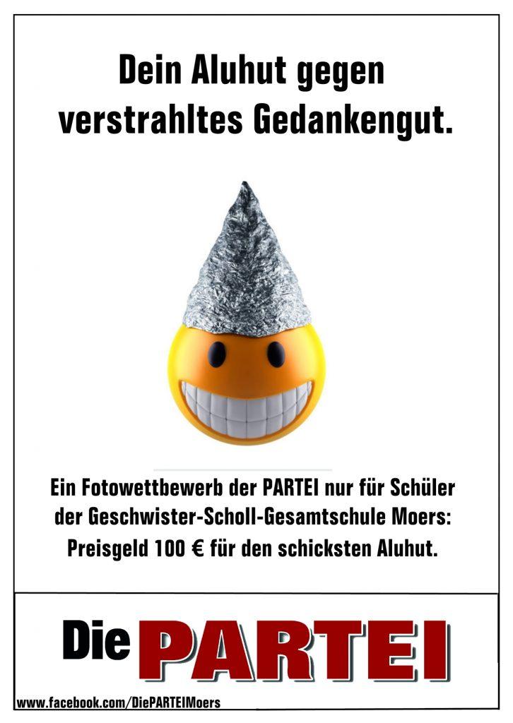 """""""Dein Aluhut""""; Grafik: Carsten Born / DIE PARTEI Moers"""