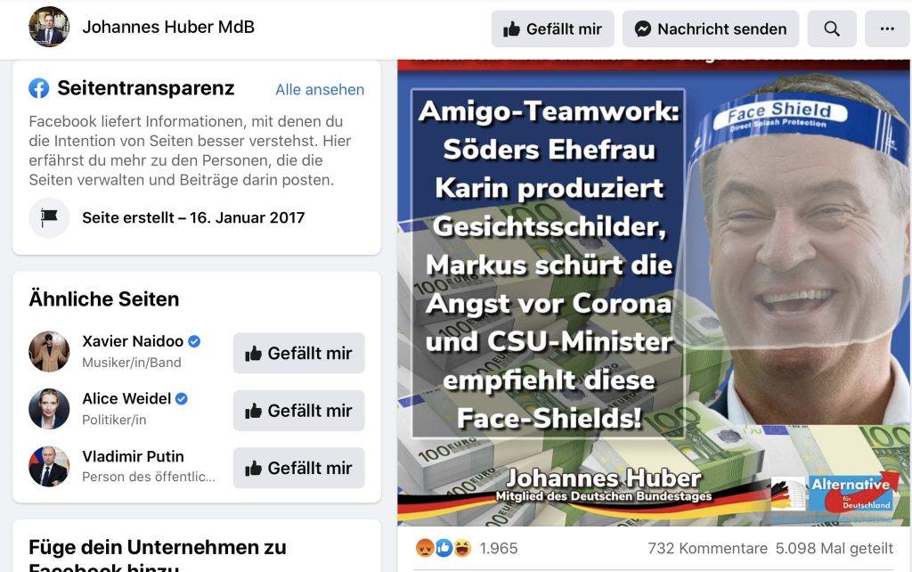 """Fake-News: """"Amiga-Teamwork: Söders Ehefrau Karin produziert Gesichtsschilder.""""; Screenshot"""