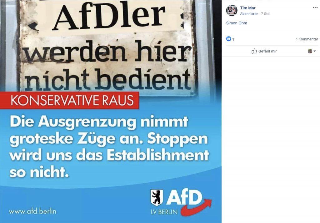 AfD: Relativierung der Schoa und Judenverfolgung; Screenshot Facebook