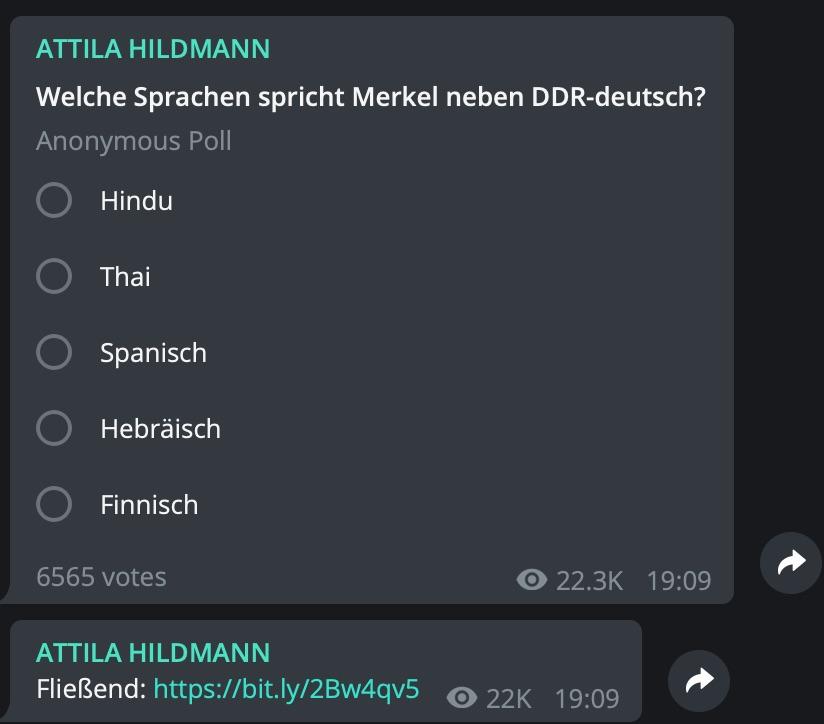 Fake-News: Nein, Angela Merkel spricht kein hebräisch; Screenshot Telegram