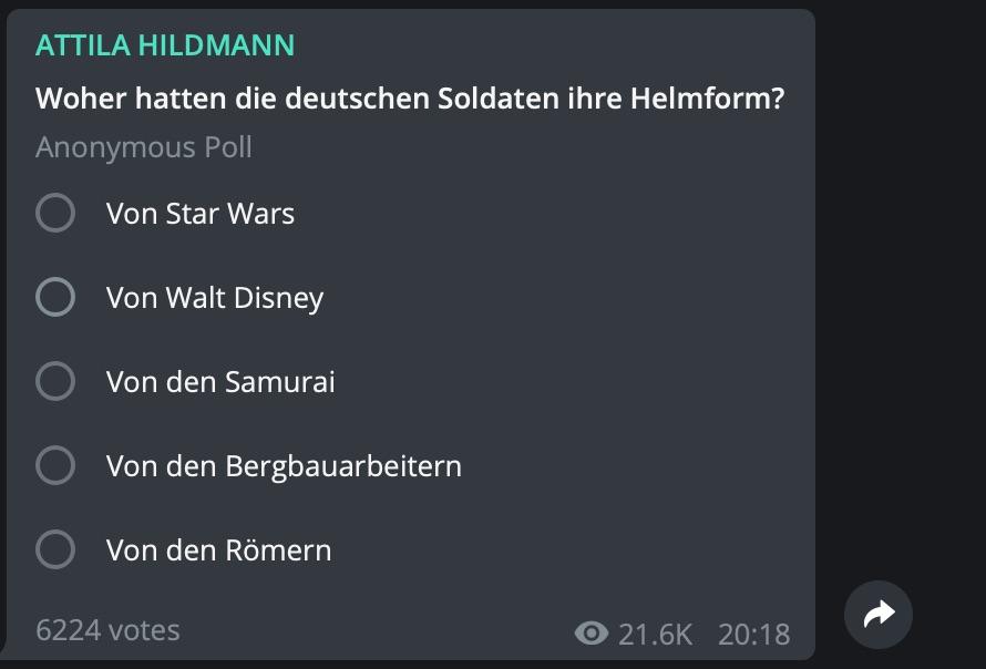 Attila Hildmann sorgt sich um die Bildung seiner Fans; Screenshot Telegram