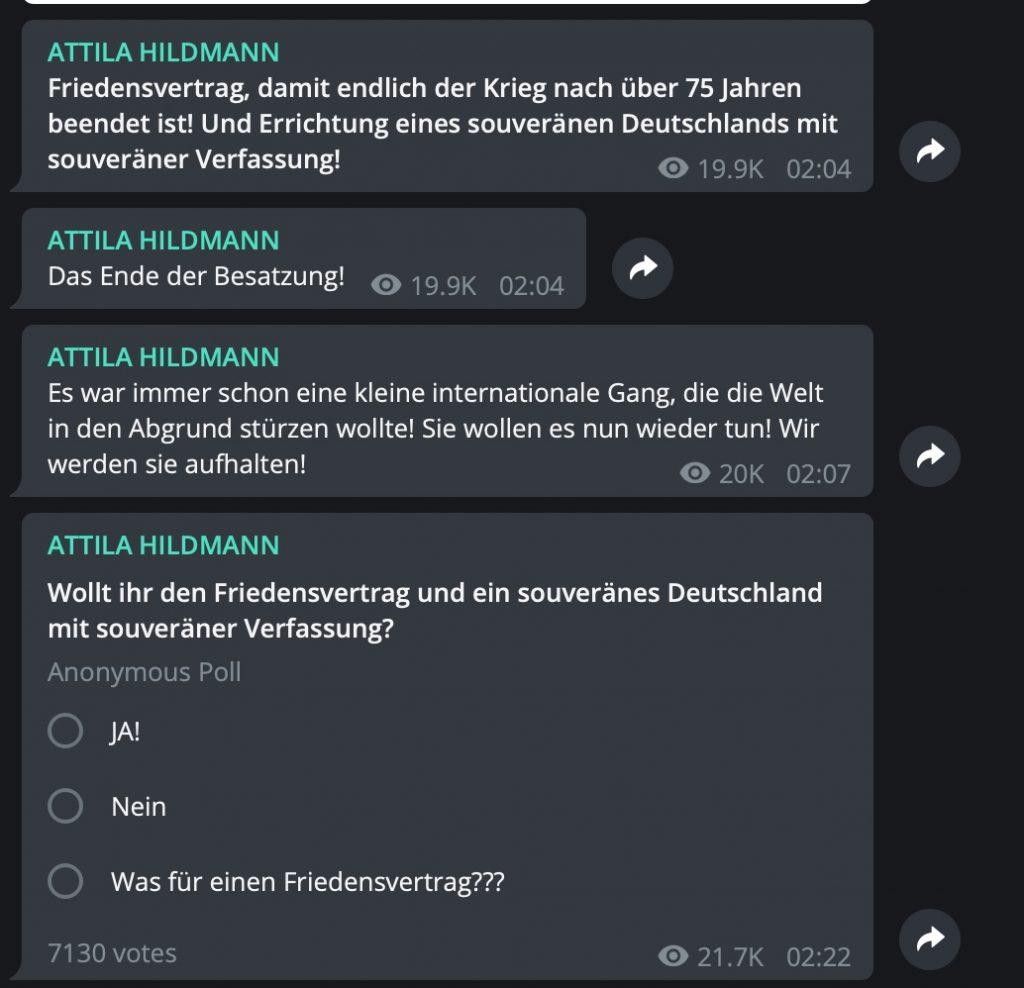 Reichsbürger-Gesülze bei Attila Hildmann; Screenshot Telegram