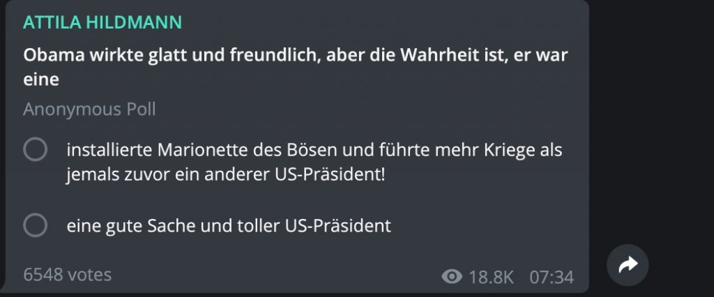 Böser Barack Obama; Screenshot Telegram