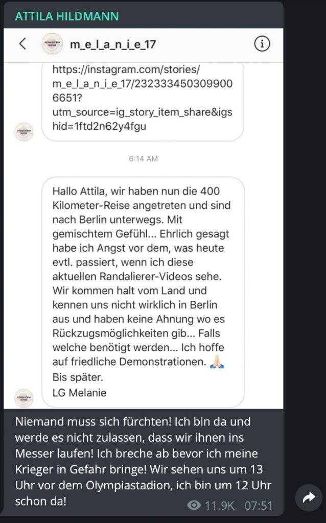 Läuft! 400 Kilometer fahren um Attila zu folgen; Screenshot Telegram