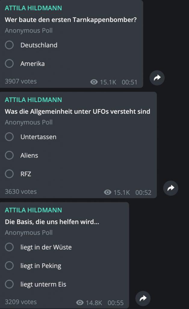 Attila Hidlamm wandelt auf den Pfaden von Dr. Axel Stoll; Screenshot Telegram