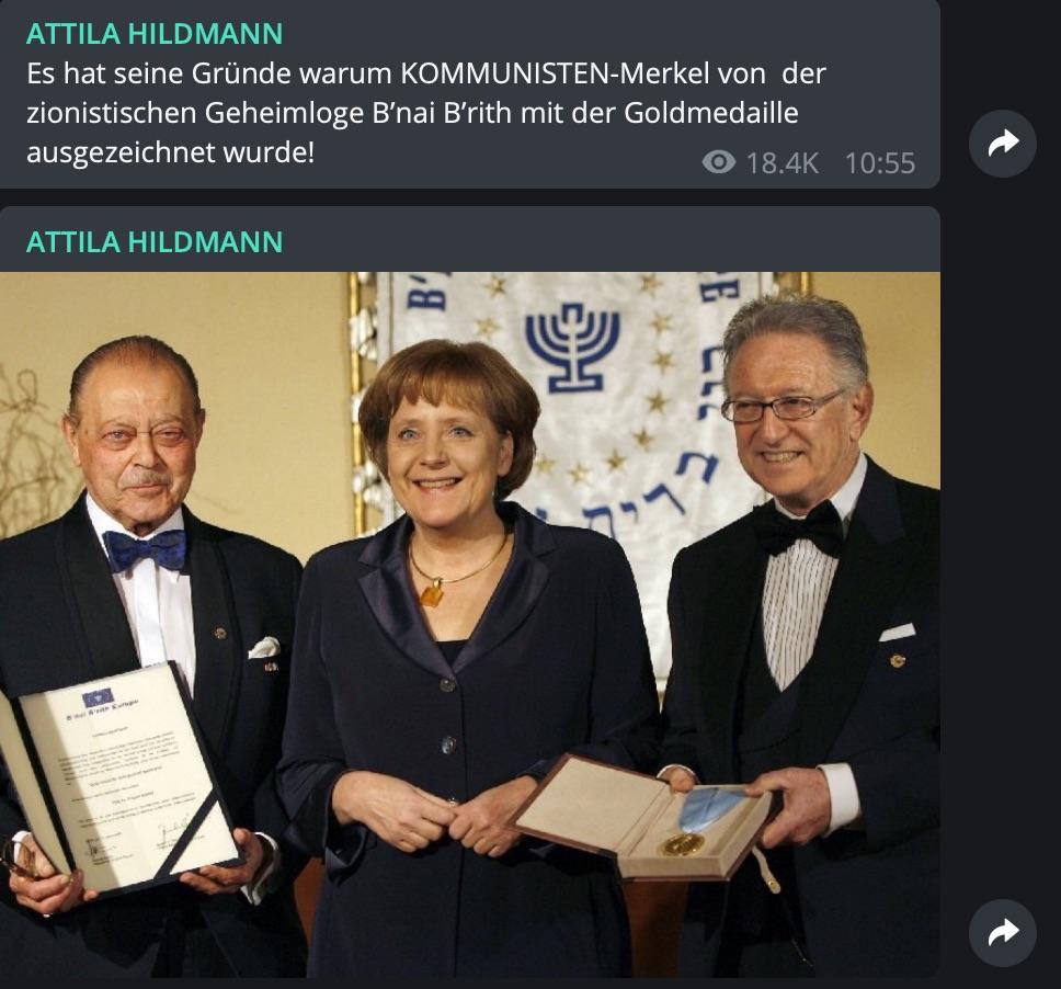 Böse zionistischen Geheimlogen: Die Rhetorik bei Attila Hildmann wird aggressiver; Screenshot Telegram
