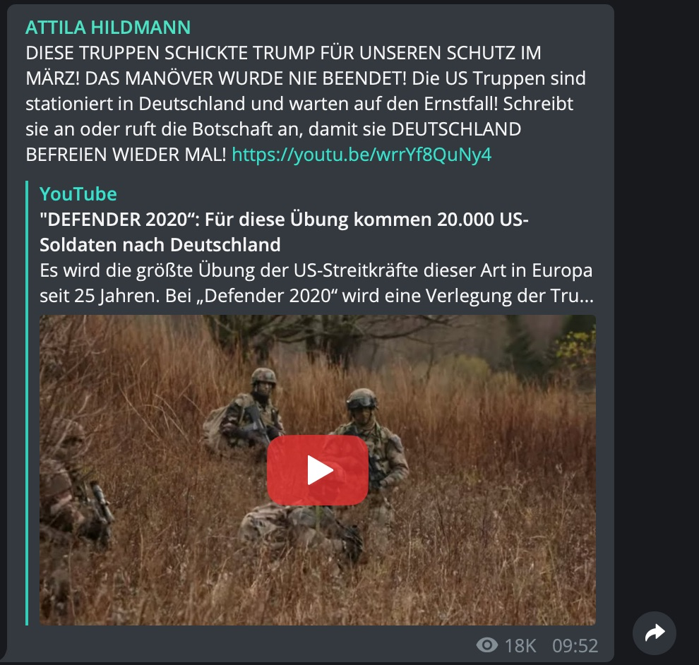 "Fake-News zum abgebrochenen Manöver ""Defender Europe 2020""; Screenshot Telegram"