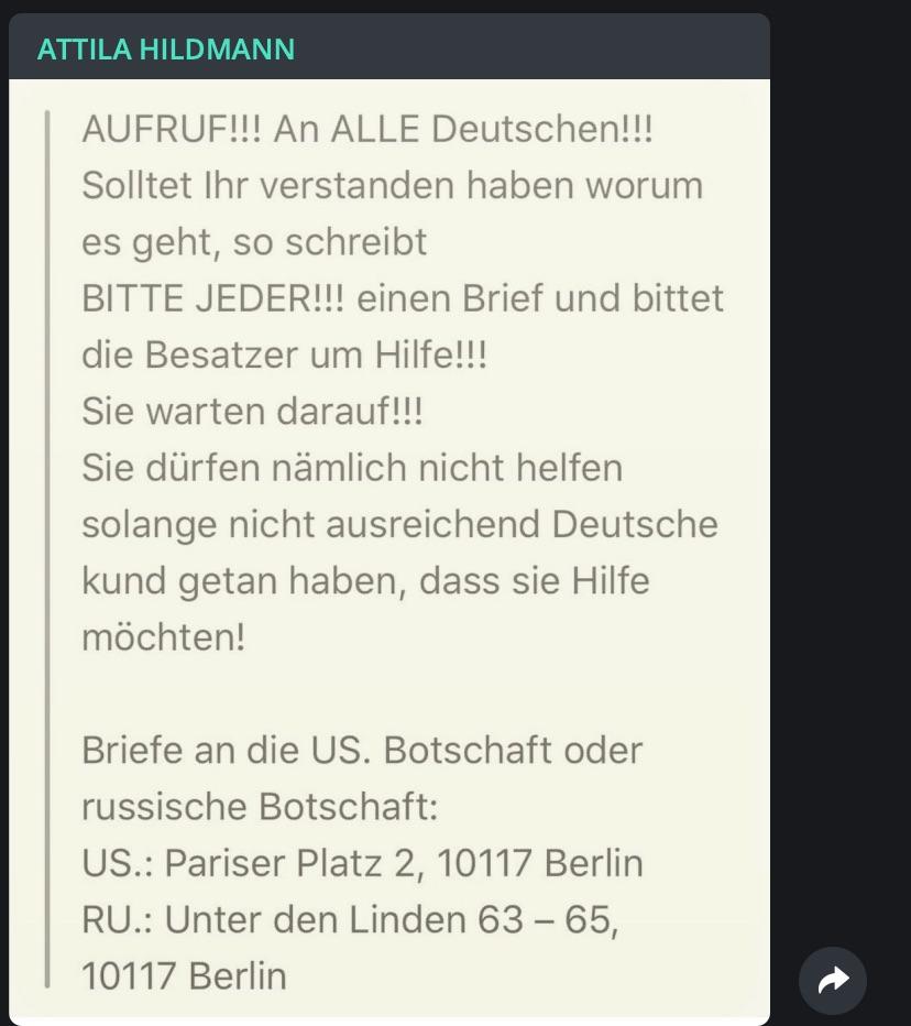 """""""Besatzer um Hilfe bitten!""""; Screenshot Telegram"""