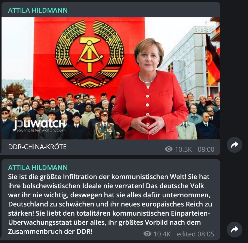 "Attila Hildmann: Immer wieder bezeichnet er Angela Merkel als ""Kröte""; Screenshot Telegram"