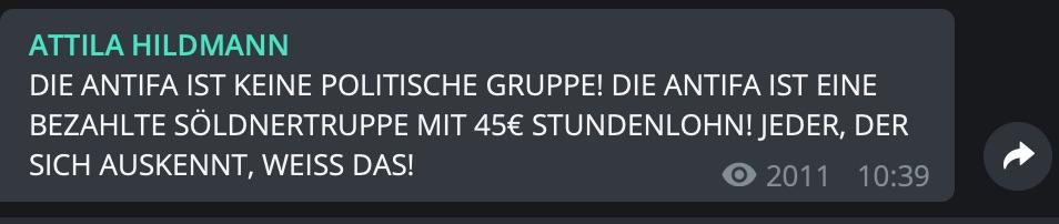 45€ Stundenlohn für die Antifa; Screenshot Telegram