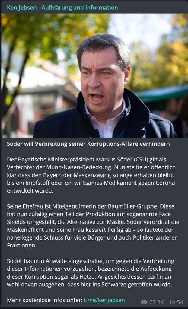 """Maskengate"" - Fake-News bei Ken Jebsen; Screenshot Telegram"