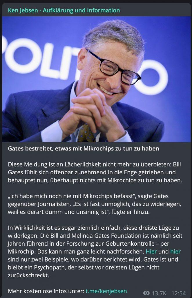 Von Verschwörungstheoretikern gehasst: Bill Gates; Screenshot Telegram