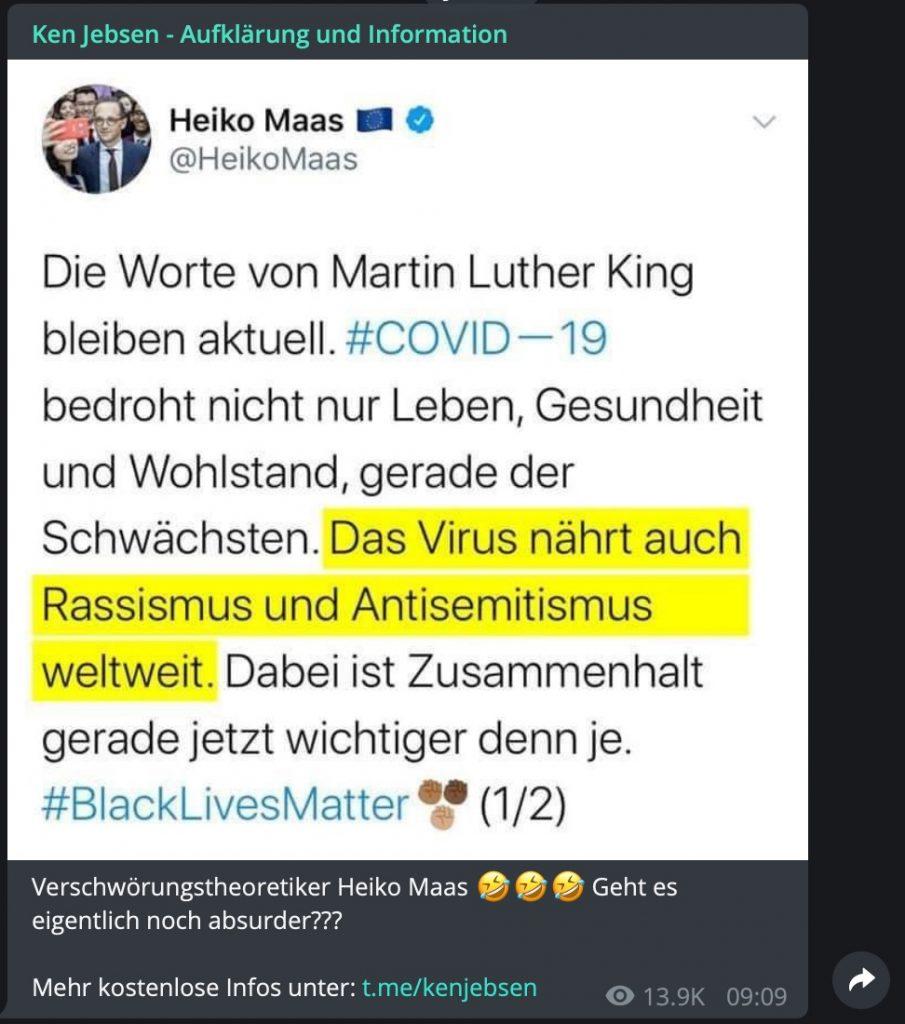 Antisemitismus: Auf Corona-Demos kaum zu übersehen; Screenshot Telegram