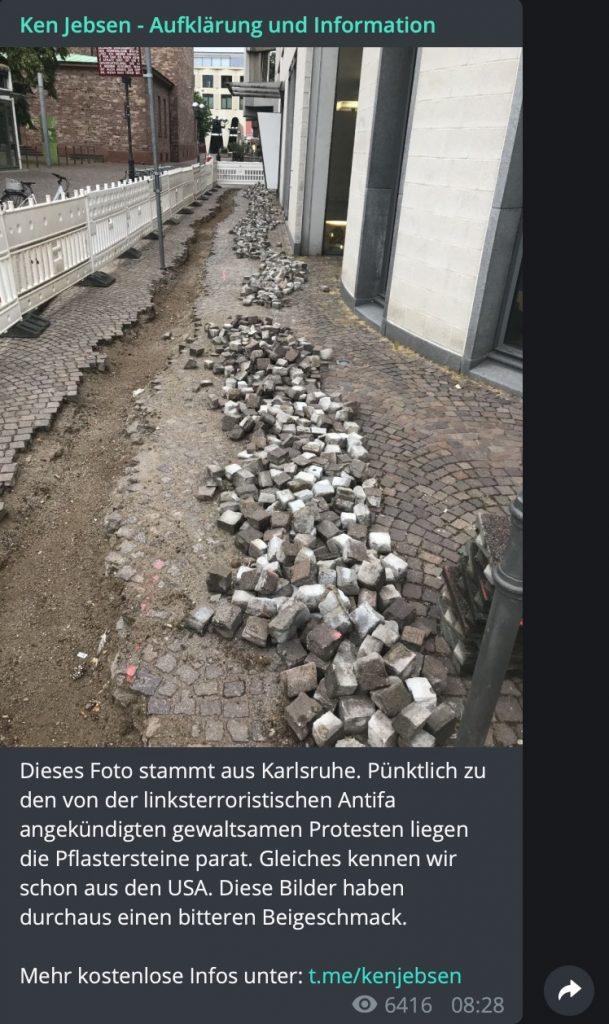 In Deutschland wird gebaut: Pflastersteine gehören dazu; Screenshot Telegram