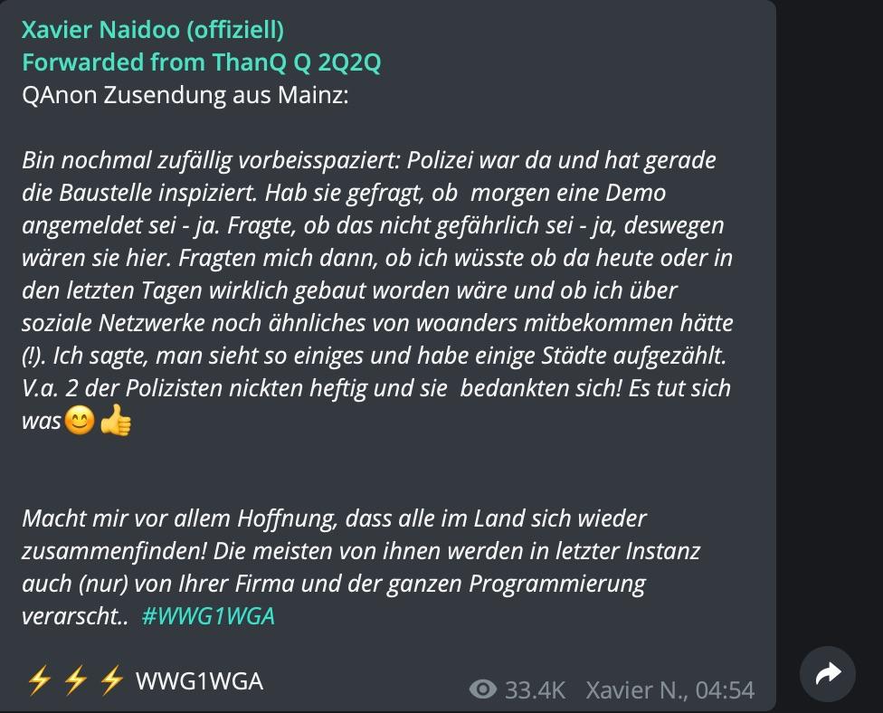 Verdächtige Vorgänge in Mainz: Meldung eines QAnons; Screenshot Telegram
