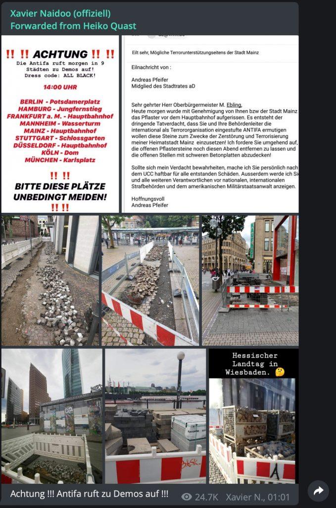 Sehr verdächtig: Eine Baustelle in Mainz; Screenshot Telegram