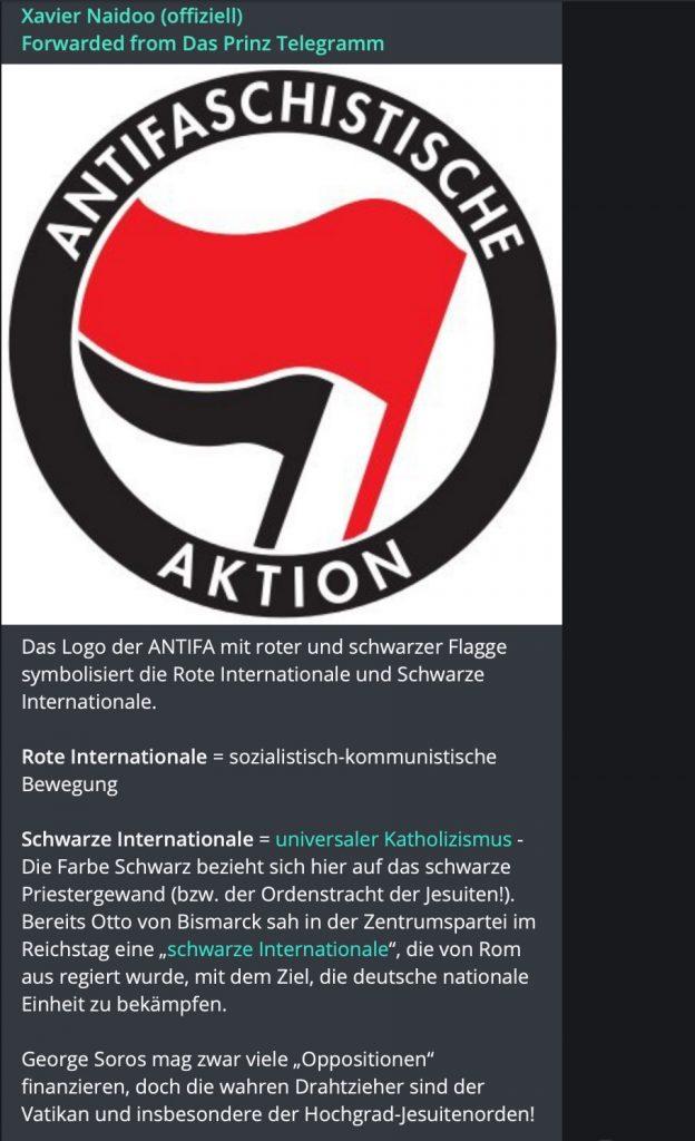 Drahtzieher hinter der Antifa: Der Vatikan; Screenshot Telegram