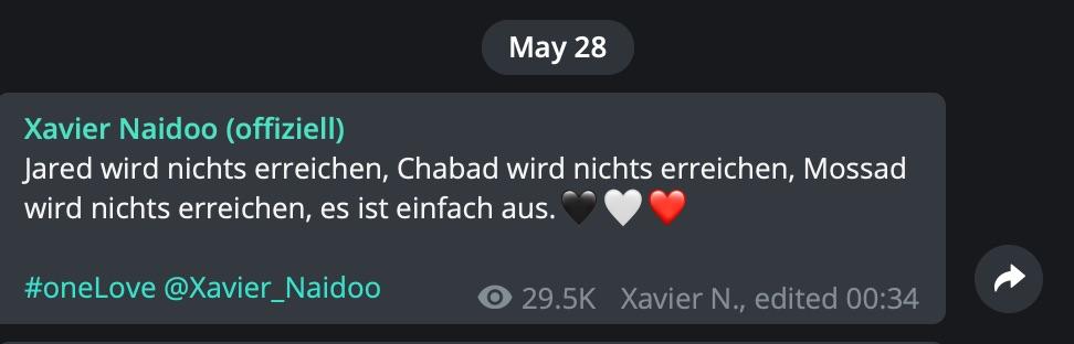 """""""Jared wird nichts erreichen, Chabad wird nichts erreichen, Mossad wird nichts erreichen""""; Screenshot Telegram"""
