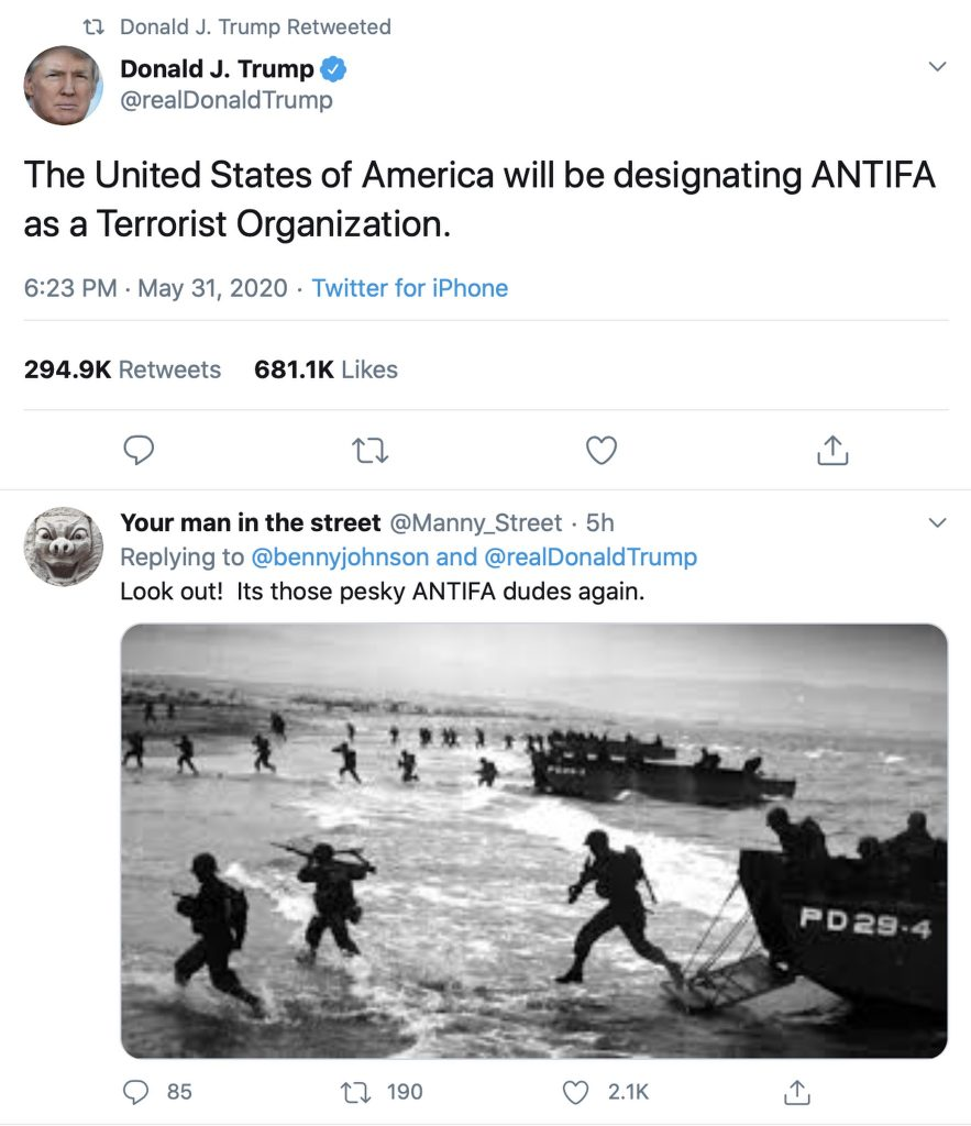 """The United States of America will be designating ANTIFA as a Terrorist Organization."" Screenshot"