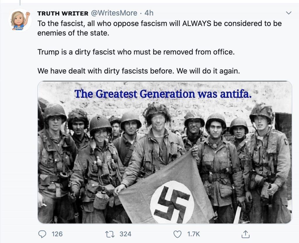 """The greatest Generation was Antifa""; Screenshot"