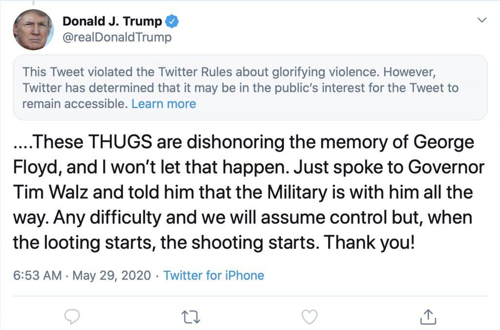 Twitter hat einen Tweet von @realDonaldTrump als gewaltverherrlichend markiert; Screenshot